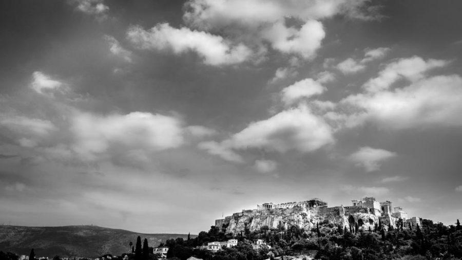 photo noir et blanc Acropole d'Athènes, Grèce