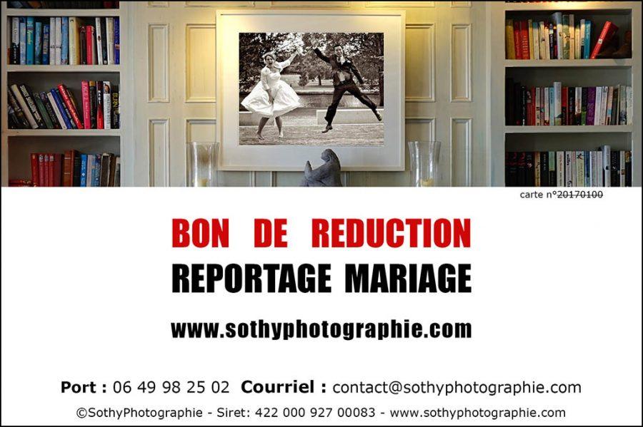 bon de réduction pour un reportage mariage